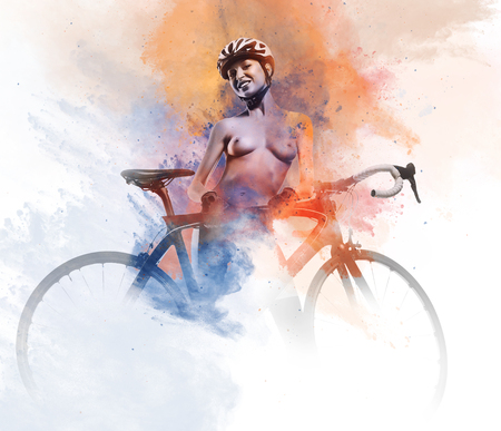 Naked woman with a bicycle combined with an abstract watercolor. Digital art