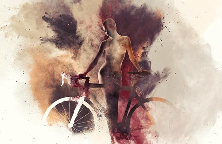 girls naked: Силуэт обнаженной женщины с велосипедом, в сочетании с абстрактной акварелью. Цифровое искусство Фото со стока