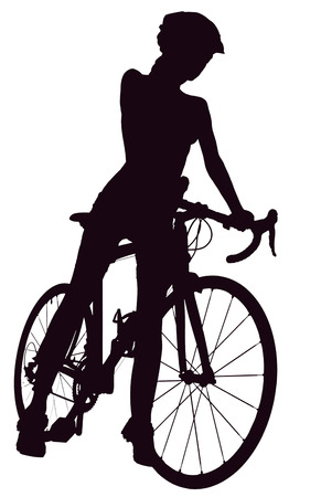 cutouts: Silhouette of woman with a bicycle, isolated on a white background