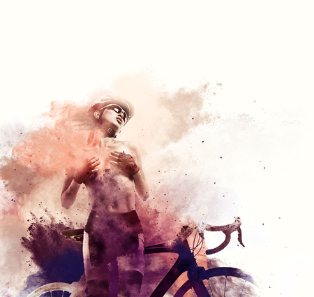 topless women: Naked woman with a bicycle combined with an abstract watercolor. Digital art