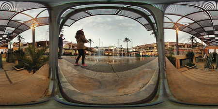 occupying: Orihuela, Spain - January 11, 2017: 360 degree panorama of La Zenia Boulevard shopping centre. Occupying over 160,000 square metres, with 150 shops and restaurants. La Zenia Boulevard is the largest Shopping centre in the province of Alicante. Spain Editorial
