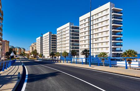 Empty street of La Manga (La Manga del Mar Menor) is a seaside spit in the Region of Murcia, Spain.