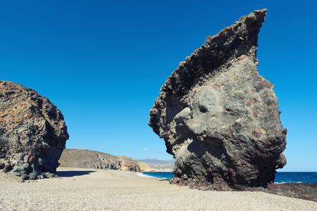Picturesque Playa de Los Muertos or Beach of the Dead in Cabo de Gata-Nijar Natural Park. Carboneras. Province of Almeria. Southern Spain