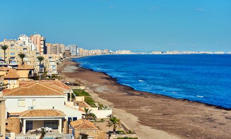 Coastline of La Manga or La Manga del Mar Menor, is a seaside spit in the Region of Murcia, Spain.