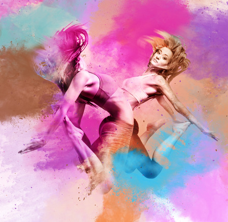 sexual activity: Two athletic girls jumping. Image combined with an digital effects. Digital art
