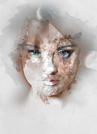 Portrait of a young beautiful woman. Image combined with an digital effects. Digital art Stock fotó