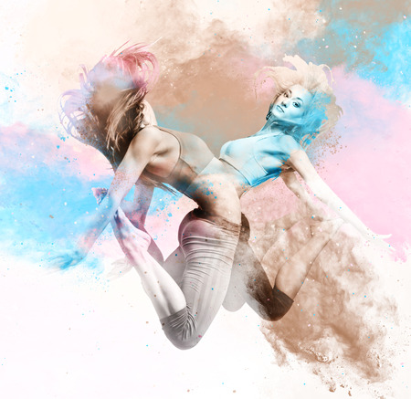 Two athletic girls jumping. Image combined with an digital effects. Digital art