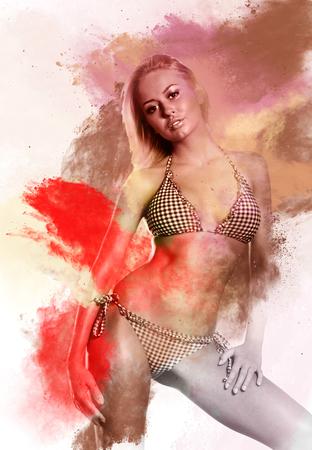 body paint: Hermosa mujer en bikini. Imagen combinada con una de efectos digitales. Arte digital Foto de archivo