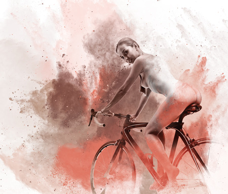 naked woman back: Naked woman on a bicycle. Image combined with an abstract watercolor. Digital art
