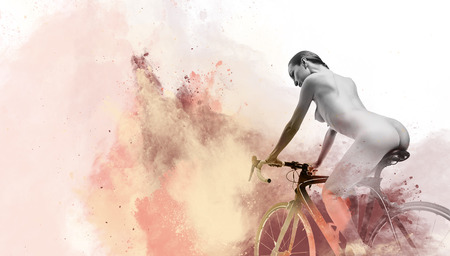 noman on a bicycle and image combined with watercolor Digital art Stock Photo