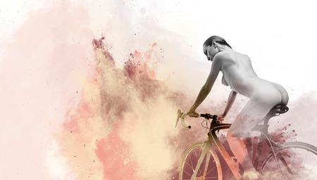 Noman op een fiets en imago in combinatie met waterverf Digitale kunst