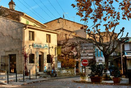 lourmarin: Lourmarin, France - Charming street of Lourmarin town. Provence-Alpes-Cote dAzur. France Editorial