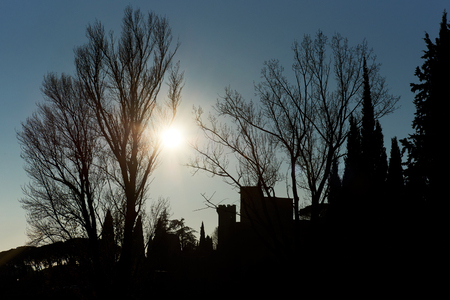 lourmarin: Silhouette of a trees, houses and Renaissance castle of Lourmarin village. Provence-Alpes-Cote dAzur. France