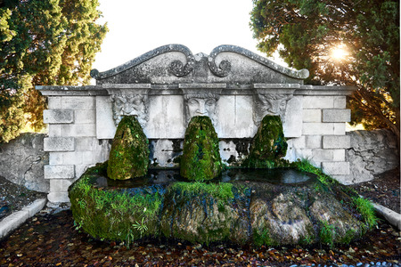 lourmarin: Lourmarin fountain. Listed as the most beautiful villages of France. Provence-Alpes-Cote dAzur. Stock Photo
