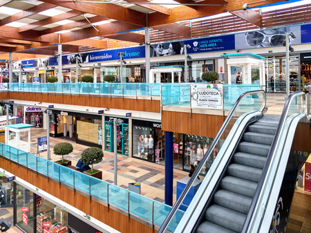 Torrevieja, Spain - February 24, 2017: Inside of Habaneras shopping centre. The architecture is very pretty with fountains and rest places, everything is in open air. It�s been open since 2005. Province of Alicante. Spain