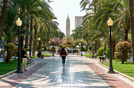 Alicante, Spain- People walking along the Avenue Federico Soto in Alicante Costa Blanca. Spain