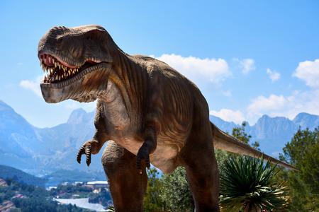 Algar, Spain - April 8, 2017: Realistic model of a Tyrannosaurus Rex in the Dino Park of Algar. It is a unique entertainment and educational park. Spain Editorial
