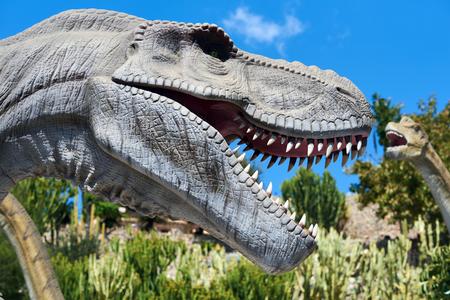 Algar, Spain - April 8, 2017: Realistic model of a Tyrannosaurus Rex in the Dino Park Algar. It is a unique entertainment and educational park. Spain