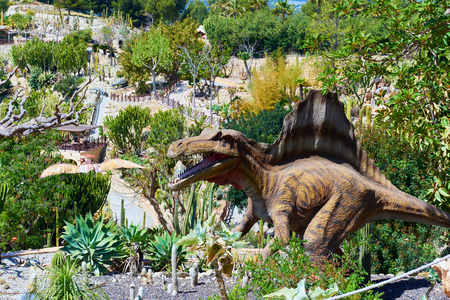 Algar, Spain - April 8, 2017: Realistic model of a Spinosaurus in the Dino Park of Algar. It is a unique entertainment and educational park. Spain