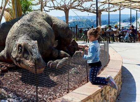 Algar, Spain - April 8, 2017: People in the Dino Park of Algar. It is a unique entertainment and educational park. Spain