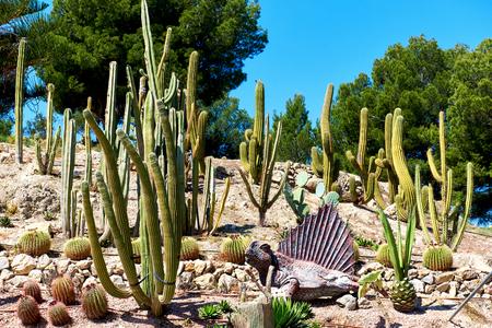 Algar, Spain - April 8, 2017: Realistic model of a Dimetrodon in the Dino Park of Algar. It is a unique entertainment and educational park. Spain