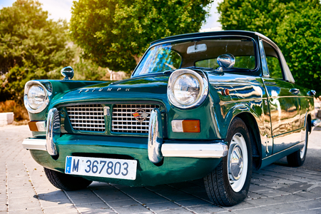 Villajoyosa, Spain - May 28, 2017: Triumph Herald car outdoors. It is a small two-door car introduced by the Standard-Triumph Company of Coventry in 1959
