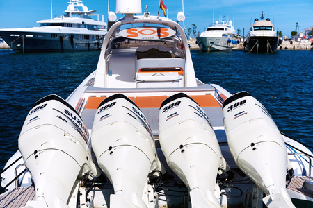 Ibiza, Spain - June 10, 2017: Four Suzuki DF300AP engines on inflatable rib boat. Spain
