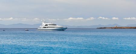 picturesque: Motor Yacht at Cala Saona in Formentera. Balearic Islands. Spain