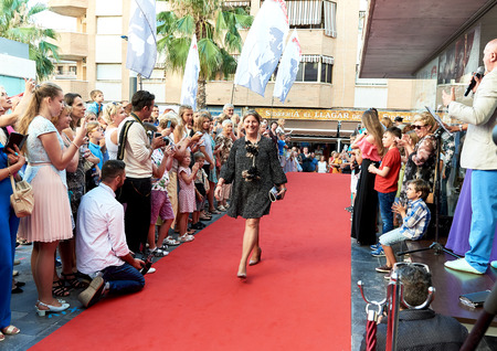 Torrevieja, Spain - July 1, 2017: Crowd of people on the opening of Russian Film Festival in the Torrevieja city. Costa Blanca. Spain