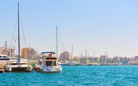 docked: Yachts and fishing boats in Torrevieja port. Costa Blanca. Spain Stock Photo