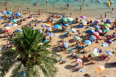 playa blanca: Torrevieja, Spain - July 10, 2017: Coastline of Playa del Cura in Torrevieja city at summertime. Costa Blanca. Spain