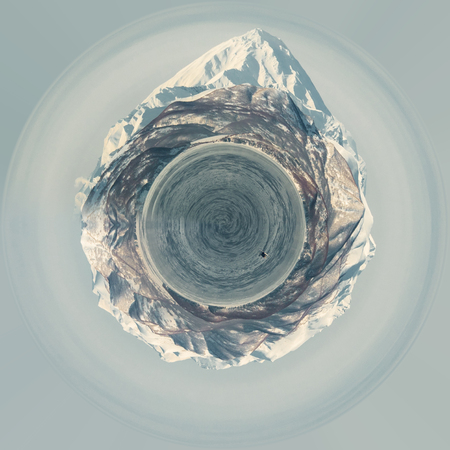 Little planet 360 degree sphere. Panoramic view of volcano and Avacha bay. Petropavlovsk-Kamchatsky, Kamchatka, Russia
