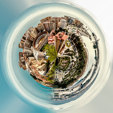 Little planet 360 degree sphere. Panoramic view of Malaga bullring (La Malagueta) and seaport. Spain Stock Photo