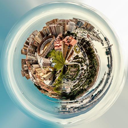 Little planet 360 degree sphere. Panoramic view of Malaga bullring (La Malagueta) and seaport. Spain Foto de archivo