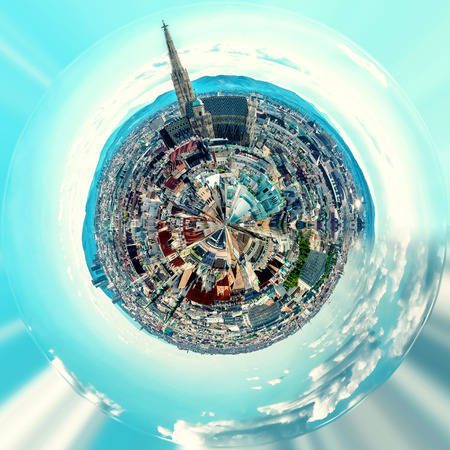 Little planet 360 degree sphere. Panoramic view of Vienna city. Austria