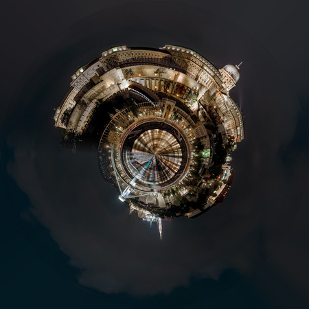 Little planet 360 degree sphere. Panorama of Royal Palace or Buda Castle at night. Budapest, Hungary Archivio Fotografico