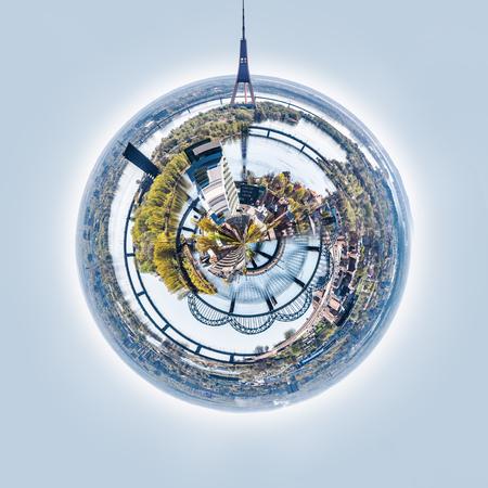 Little planet 360 degree sphere. Panorama of Riga city, Latvia
