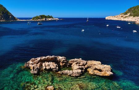Sailboats at Puerto de San Miguel of Ibiza. Balearic Islands. Spain