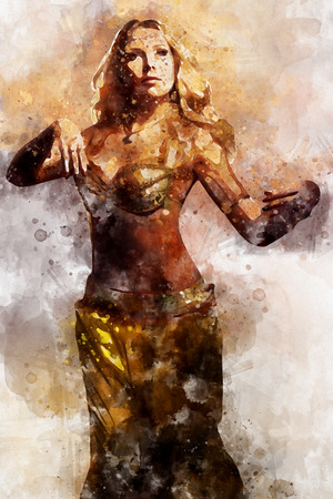 Beautiful blonde belly dancer woman. Digital watercolor painting. Digital art.