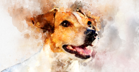 ジャック ラッセル テリア犬のデジタル水彩画