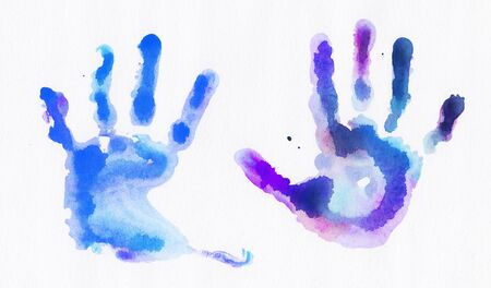 Watercolor handprints over white background Reklamní fotografie