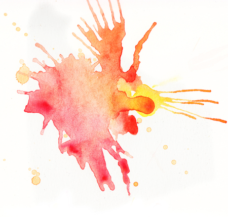 Colorful watercolor splashes over white background. Orange, red and yellow colors Stock Photo