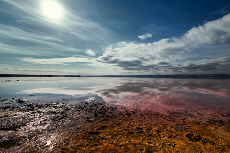 Picturesque view of Las Salinas. Salt lake of Torrevieja, declared one of the healthiest in Europe, according to the World Health Organization. Province of Alicante. Costa Blanca, Spain Stock Photo