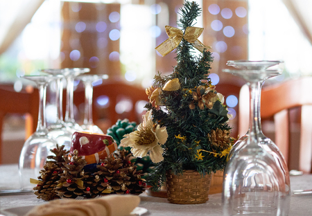 stock photo table setting with christmas decorations in a restaurant - Restaurant Christmas Decorations