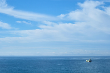 Ship on the roadstead in the Mediterranean sea