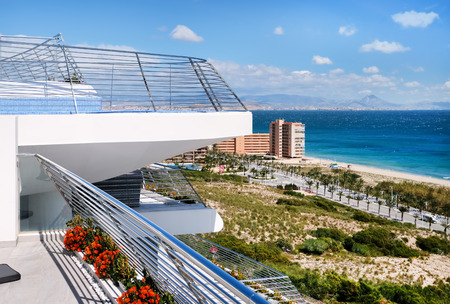 View from the hotels balcony to the coastline of Alicante. Costa Blanca. Spain