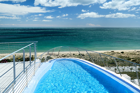 Swimming pool and view to the Mediterranean Sea. Spain Stock Photo