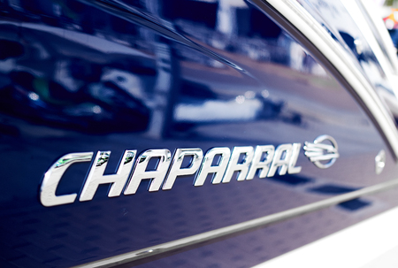 Ibiza Island, Spain - April 30, 2018: Silver logo Chaparral close-up. Chaparral has been building high quality family boats since 1965, founded in Fort Lauderdale, Florida Editorial