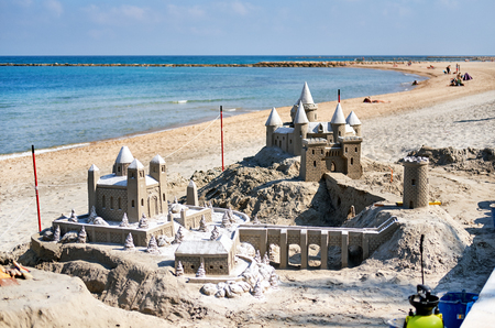 Sand castle on the beach of El Campello. El Campello is a town on the Costa Blanca. Alicante. Spain Stock Photo
