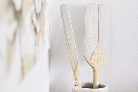 Close-up decoration boat oars on wooden vase on the kitchen